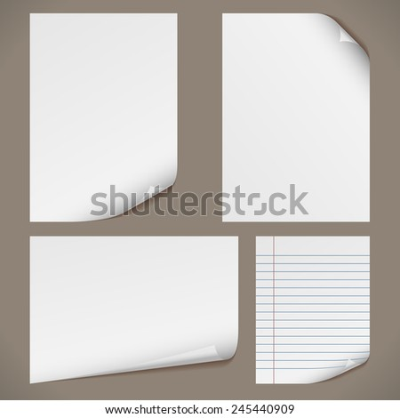 Blank A4 papers with curled corners and notepad lined page. Original proportions are kept. - stock photo