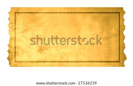 blank admit one ticket on a white background - stock photo