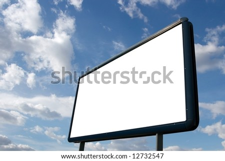 Blank advertisement board with cloudy blue sky - stock photo