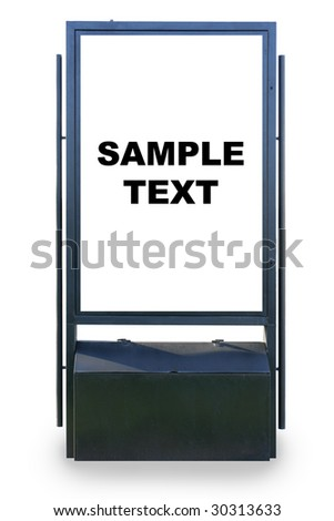 Blank advertisement hoarding isolated over white background, put your own text or image here - stock photo