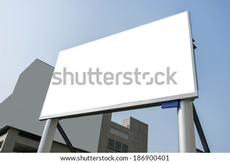 blank advertisement screen with city background - stock photo