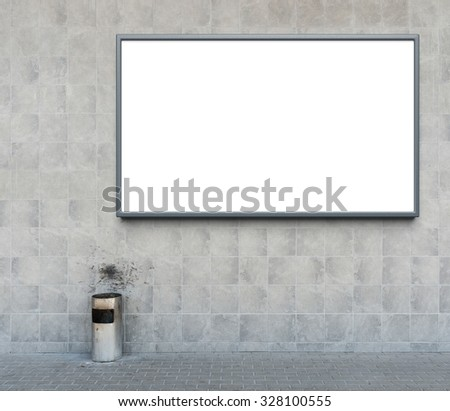 Blank advertising billboard and trash can - stock photo