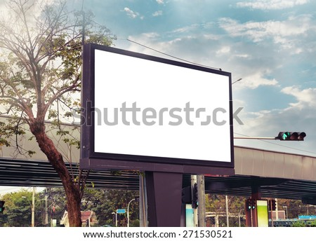 blank advertising billboard at road , vintage color - stock photo
