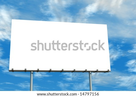 Blank advertising billboard blue sky and clouds on aluminum poles.