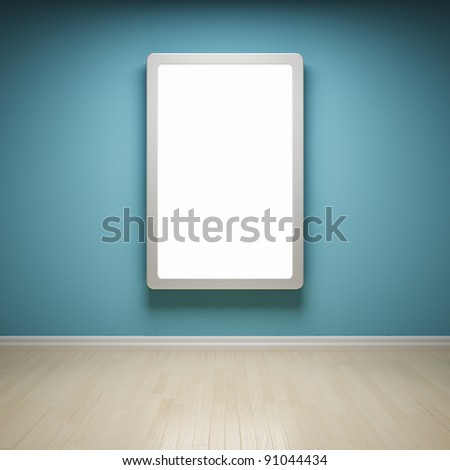 Blank advertising billboard in empty room - stock photo