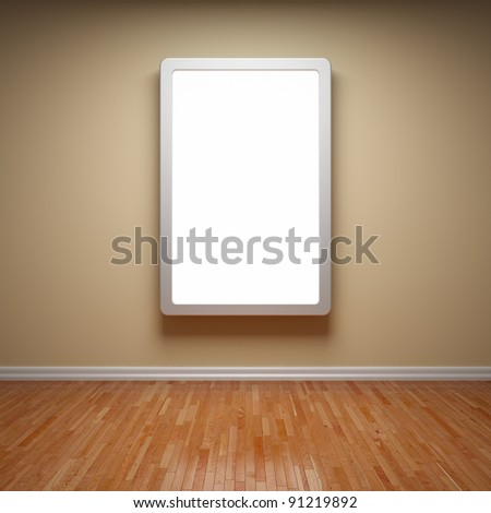 Blank advertising billboard in empty room