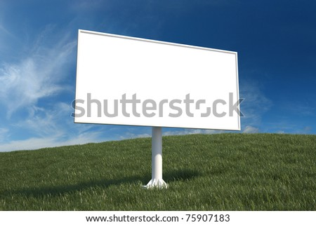 Blank advertising billboard in field