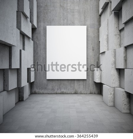 Blank advertising billboard in hall with elements of the concrete cubes. 3d rendering. - stock photo