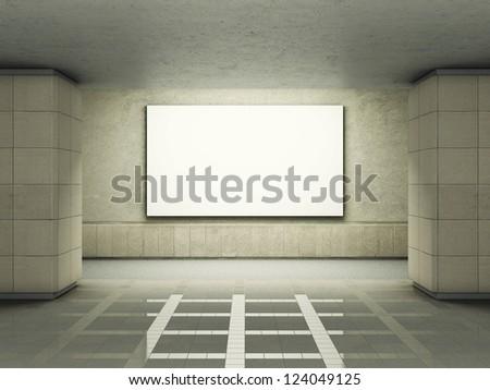 Blank advertising billboard in underground tunnel - stock photo