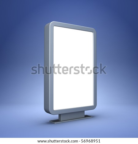 Blank advertising billboard on blue background