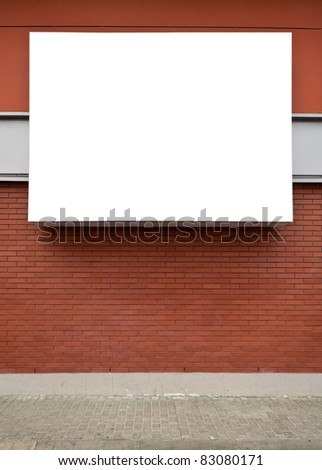 Blank advertising billboard on brick wall. - stock photo