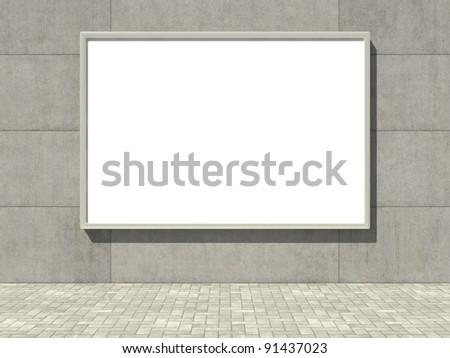 Blank advertising billboard on concrete wall - stock photo