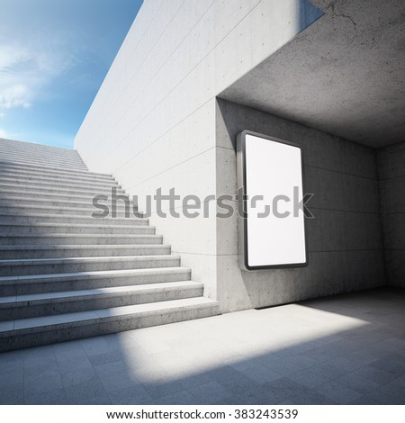 Blank advertising billboard on concrete wall in underground - stock photo