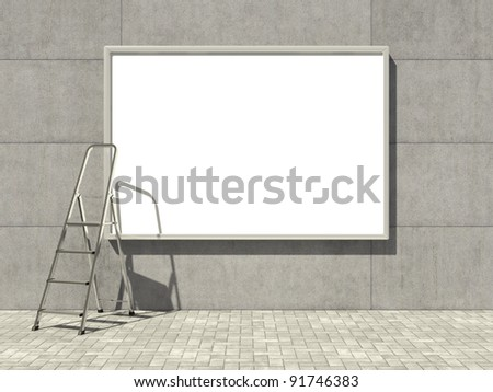 Blank advertising billboard on concrete wall with ladder - stock photo
