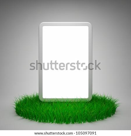 Blank advertising billboard on grass - stock photo