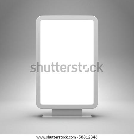 Blank advertising billboard on gray background - stock photo