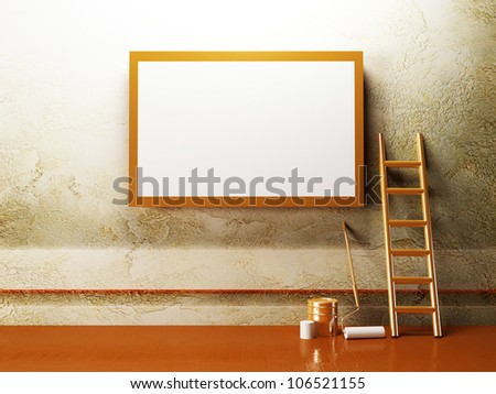blank advertising billboard on the creative wall - stock photo