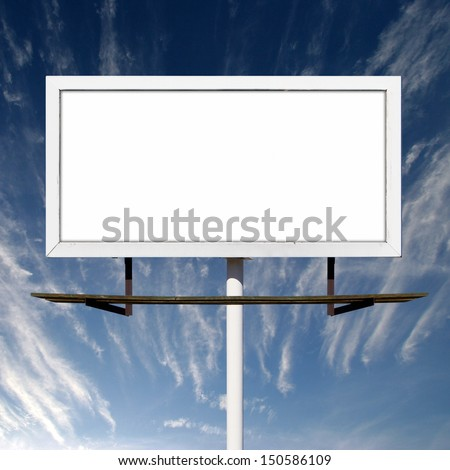 Blank advertising billboard outdoors against blue sky background - stock photo