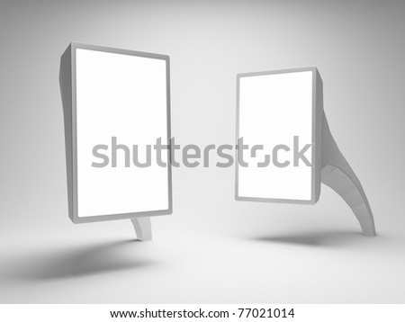Blank advertising billboards on gray background