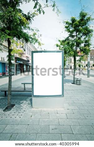 Blank advertising panel in city - stock photo