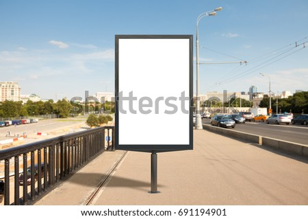 Blank advertising vertical street billboard poster. 3d illustration.