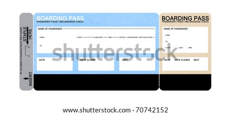 blank airline boarding pass ticket isolated on white - stock photo