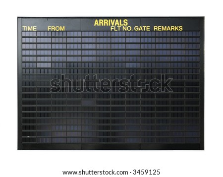 Blank airport board isolated on white background - stock photo
