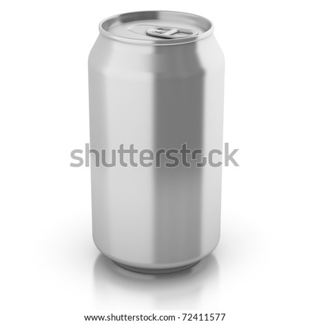 blank aluminium can isolated on a white background - customize by inserting your own text or logo - stock photo