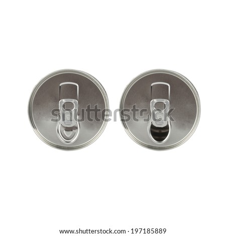 Blank aluminum cans on a white background - stock photo