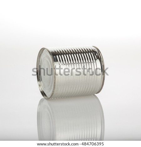 Blank aluminum food can isolated on white background