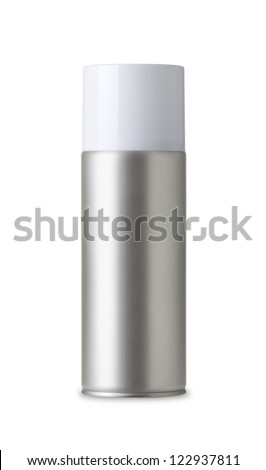 Blank aluminum spray can isolated on white background, Aerosol Spray Can , Metal Bottle Paint Can Realistic photo image - stock photo