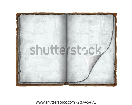 Blank ancient book with a curling page (isolated on white with clipping paths)
