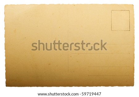 blank ancient post card isolated on white - stock photo