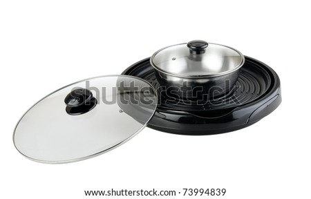 Blank and empty multiple electric pan with barbecue and boiler space isolated on white