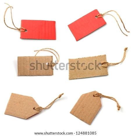 blank and empty price tag collection with copyspace - stock photo