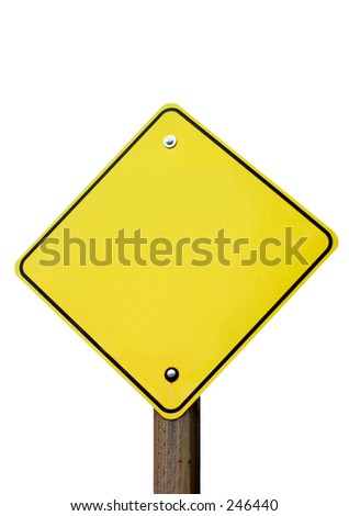 Blank and isolated traffic sign. - stock photo