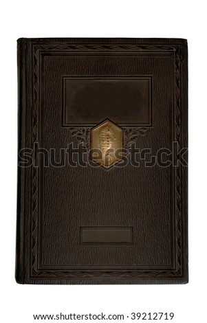 Blank antique book cover,  isolated