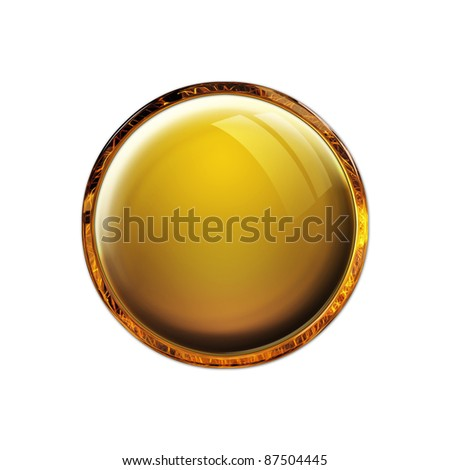 Blank antique gold amber button - stock photo