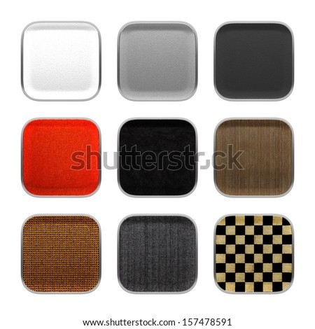 Blank app icon fabric material theme texture with metallic frame.3d isolated on white background.