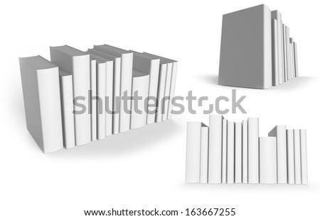 Blank arranged books isolated on white. Easy editable for your design.