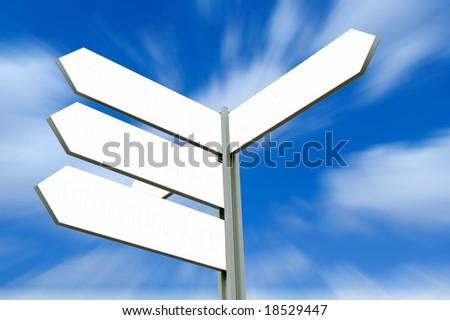 Blank Arrow Sign Post - stock photo