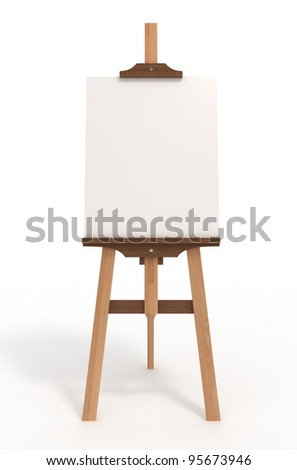 Blank art board, wooden easel, front view, isolated on white, with clipping path, 3d illustration - stock photo