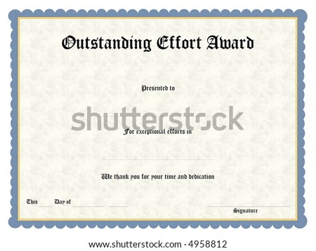 Blank award certificate form - stock photo