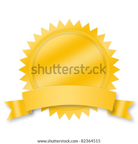 Blank award medal with ribbon - stock photo
