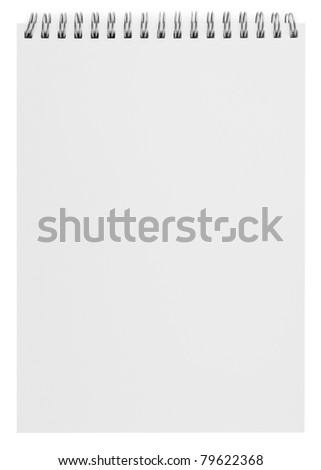 blank background. paper spiral notebook isolated on white - stock photo