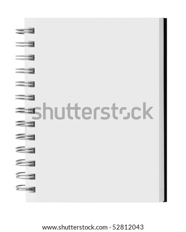 blank background. paper spiral notebook over wooden table - stock photo