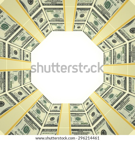 Blank background with money frame from dollars - stock photo