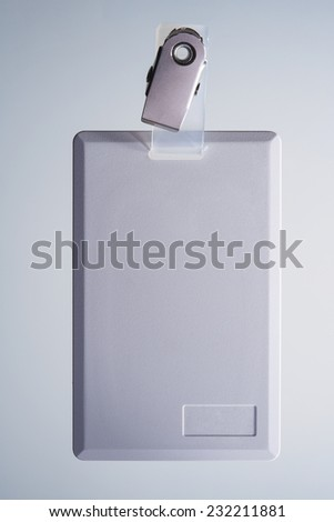 Blank Badge ID isolated on Beautiful Studio Background. Front View Close-up with Copy Space for Text or Image - stock photo