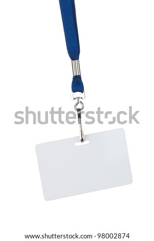blank badge on blue cord, isolated on white