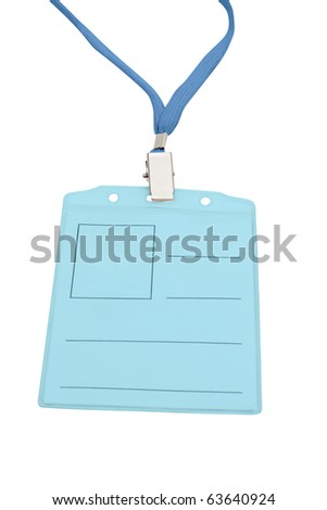 Blank badge with blue neckband. Isolated on white, with clipping path. - stock photo